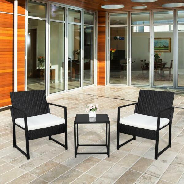 3pcs Outdoor Patio Bistro Set PE Rattan Wicker Furniture Conversation w Cushion