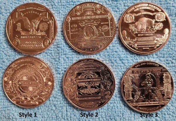 Copper Bullion 1 Ounce Rounds .999 Pure Mix and Match Ten Coins