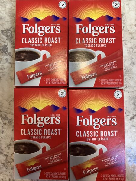 Folgers Classic Medium Roast Instant Coffee 28 Single Serve Packets FRESH 09 22