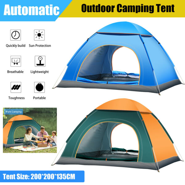 4 Person Waterproof Instant Pop Up Tent Canopy for Outdoor Camping Family Hiking $36.65