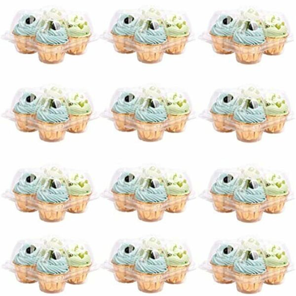 12 Pack 4 Compartment Clear Cupcake Boxes Clear Plastic Container High Dome To