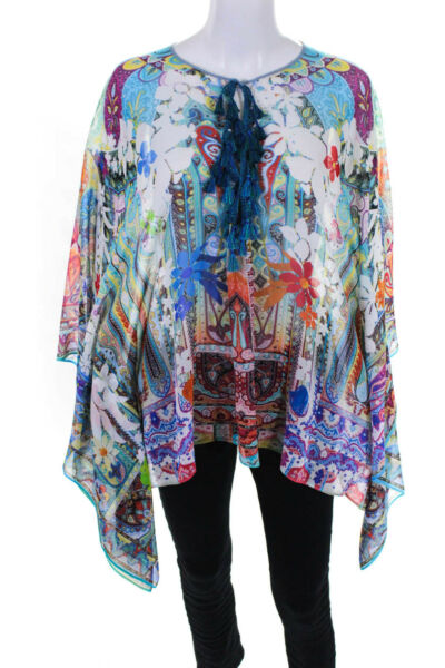 Etro Womens Silk Abstract Floral Print Sheer Poncho Pink Blue Size Small $199.99