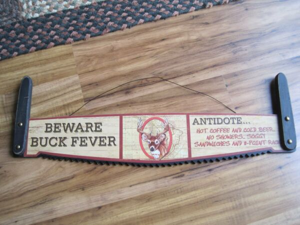 22quot; BEWARE Wood Sign Vintage Rustic Primitive cabin BUCK camp ground Saw Look