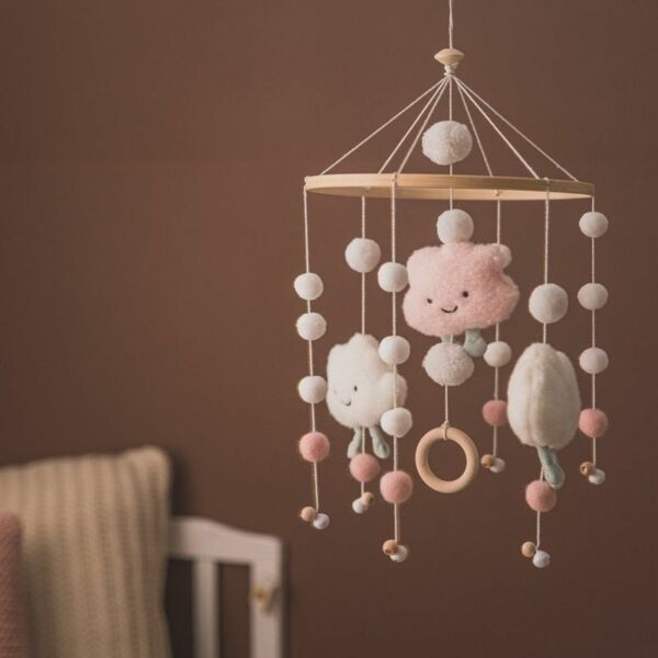Baby Rattles Crib Mobiles Toy Bed Bell Musical Box Cloud Cotton Carousel For Cot $22.99