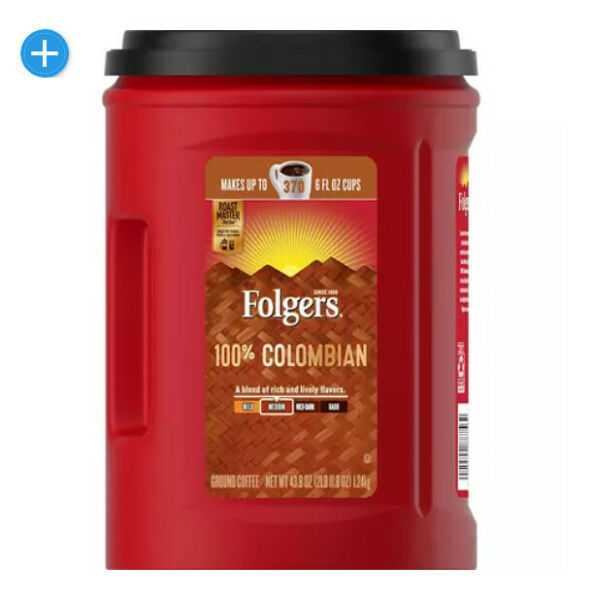 3 pack Folgers 100% Colombian Coffee 43.8 oz.