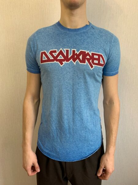 Mens Blue Dsquared 2 T shirt Made In Italy Linen M Slim Fit F3 452 $39.99