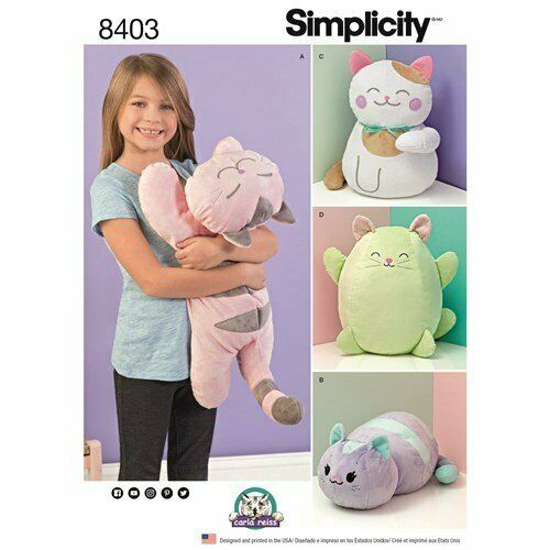 New Simplicity 8403 STUFFED KITTIES Four styles 15 1 2quot; 20quot;long 16quot;