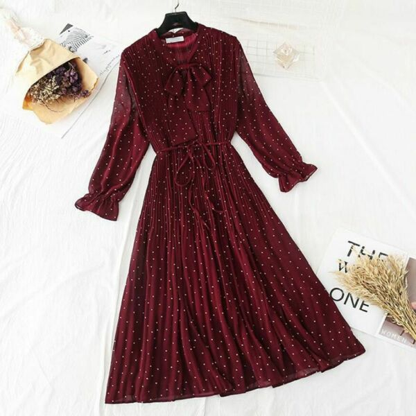 Polka Dot Elegant Women Dress Flare Sleeve Long Pleated Chiffon Vintage Dresses