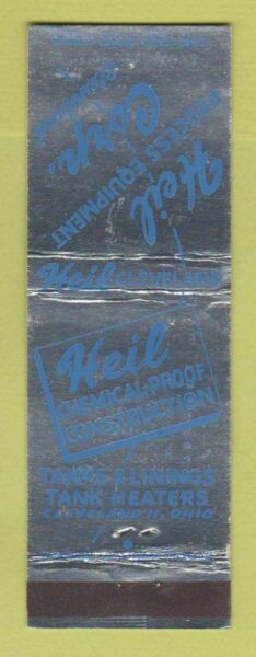 Matchbook Cover Heil Process Equipment Cleveland OH Tank Heaters Liners $3.99
