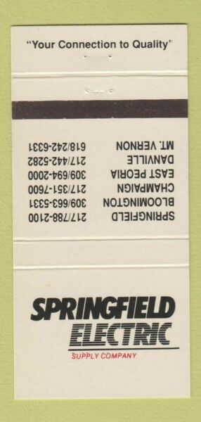 Matchbook Cover Springfield Electric PA Peoria Bloomington Danville 30 Strike $3.99