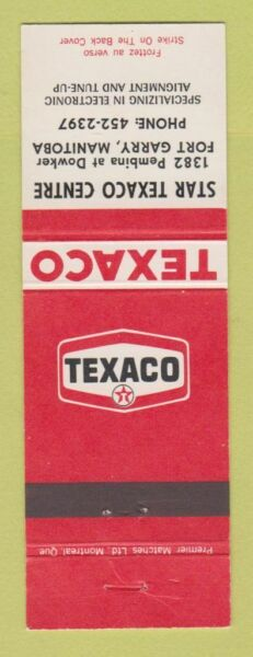 Matchbook Cover Texaco oil gas Star Centre Fort Garry MB $3.99
