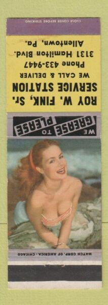 Matchbook Cover Ray Fink oil gas Allentown PA pinup $3.99