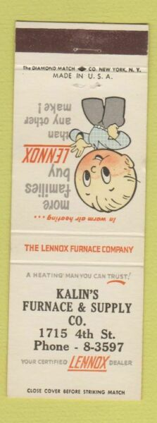 Matchbook Cover Kalin#x27;s Furnace and Supply Lennox Furnace $3.99