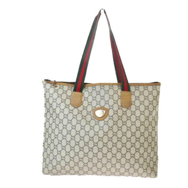 Auth Gucci Sherry Line Plus PLUS PVCLeather Tote Bag Brown 02GC894