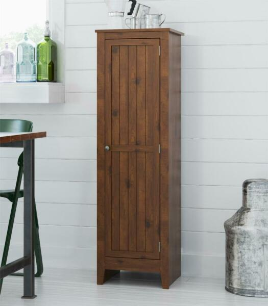 Pantry Cabinet Storage Kitchen Single Door Cupboard Tall Wood Organizer Shelves