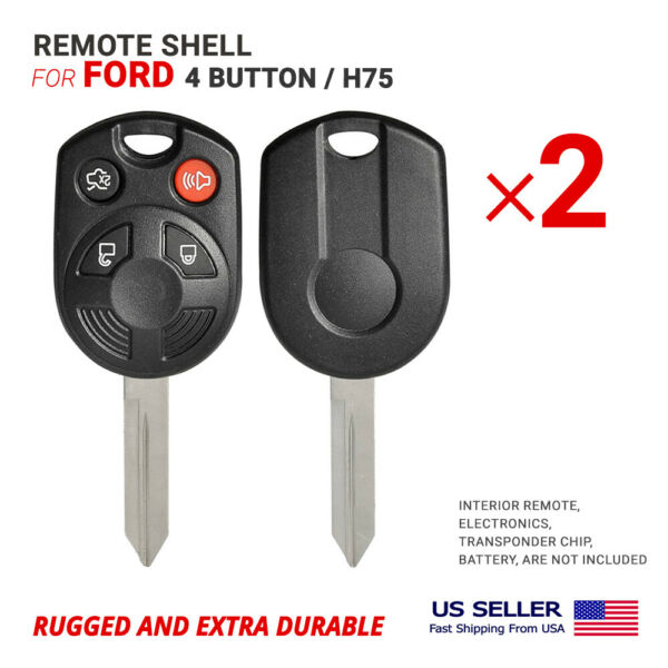 2X Remote Head Key Shell Case Blade H75 for Ford 4 Button High Quality Clip on