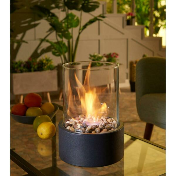 Tabletop Fireplace Metal Bio Ethanol Indoor Outdoor With Flame Guard