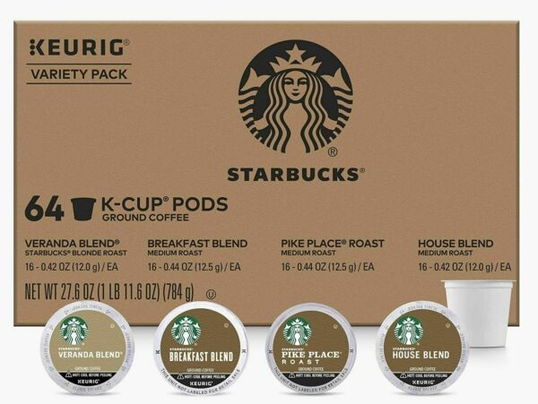 Starbucks K Cups Coffee Pods Variety Pack for Keurig Brewers 1 box 64 pods