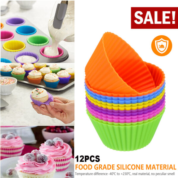 12 pcs Silicone Cupcake Muffin Mold Chocolate Dessert bake Kitchen Baking tools