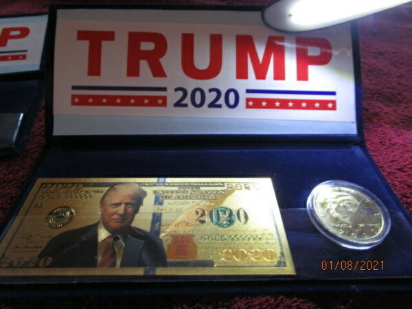 DONALD TRUMP 2020 COMMEMORATIVE SET Gold Plated Coin Gold Plated BILL $7.49