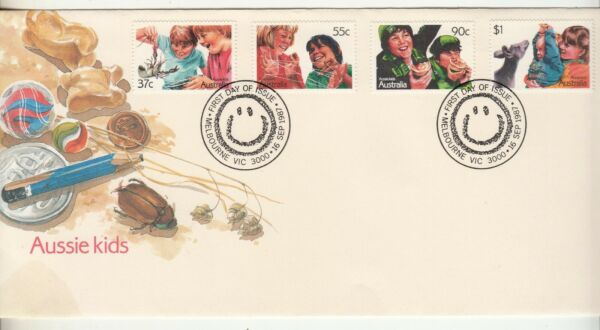 1987 Aussie kids set of 4 stamps on First Day Cover. Cost $3.12. Going cheap AU $1.49