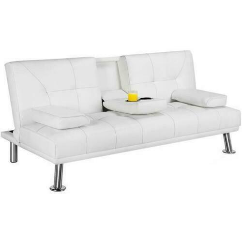 Faux Leather Futon Sofa Bed Recliner Couch Sleeper Convertible Loveseat White