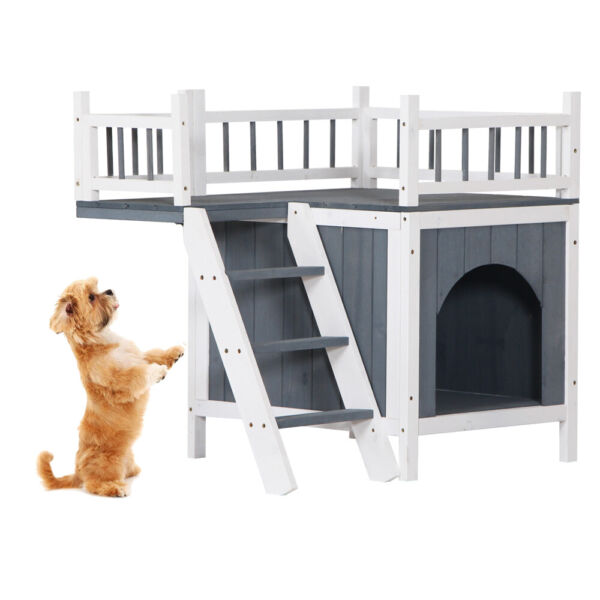Cat Pet House with Balcony amp; Stairs for Small Dog Cat Indoor Outdoor Shelter