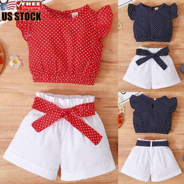 US Toddler Baby Girls Summer Clothes Polka Dot Tops Shorts Set Outfits Suit
