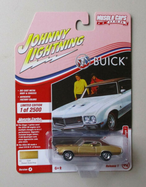 1970 Buick GS in Desert Gold Poly with Flat Brown Johnny Lightning 1:64 Die cast