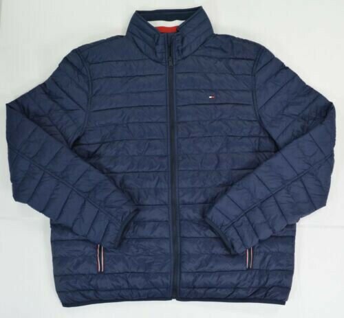 NWT TOMMY HILFIGER Mens Packable Down Nylon Puffer Jacket Navy Size Medium $50.00