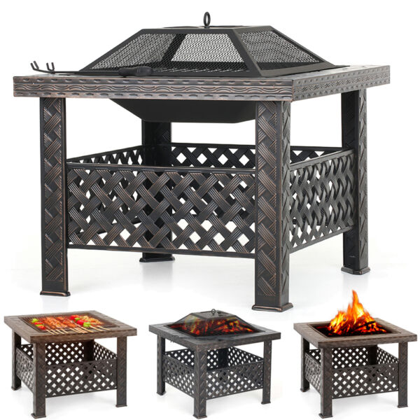 iKayaa Wood Fire Pit Outdoor BBQ Heater Backyard Patio Deck Stove Fireplace I5X4