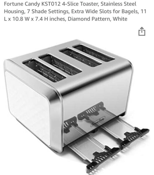 Fortune Candy Stainless Steel 4 Slice Toaster. Stainless Steel. New.