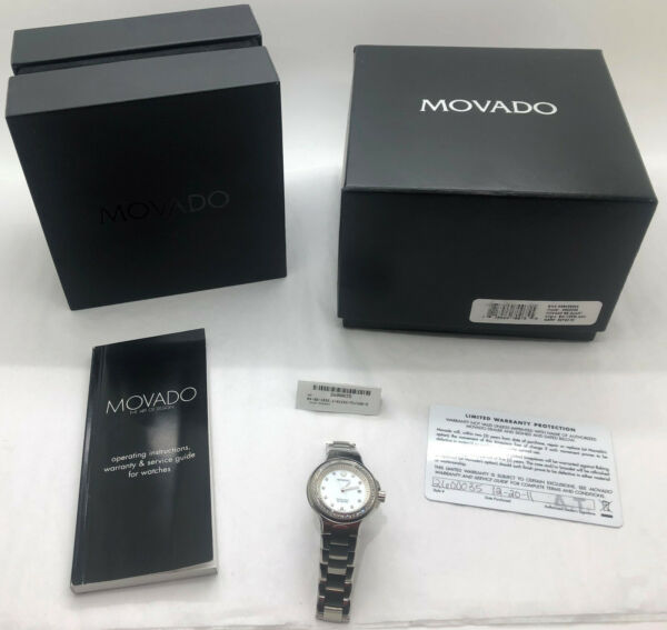 Movado Women#x27;s Stainless Series 800 Performance Diamond MOP Watch $2700 retail