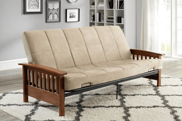 Convertible Futon Sofa Bed Couch Full Size Mattress Living Room Furniture beige