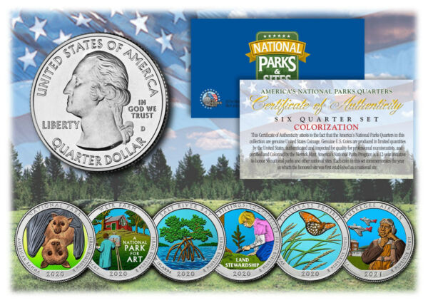 2020 2021 COLORIZED National Parks America the Beautiful Coins Quarters SET of 6