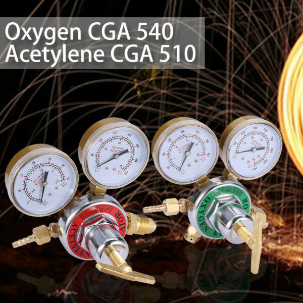 2Pcs Oxygen Acetylene Regulators Combo Welding Gas Dual Gauges CGA 540 CGA510 US