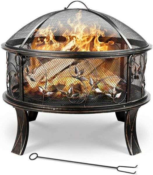 Outdoor Fire Pit 28#x27;#x27; High Heat Iron Firepit Fire Bowl Wood Burning Fireplace