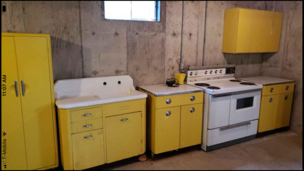 Vintage Antique Kitchen Complete Set Metal Cabinets and Appliances and Sink