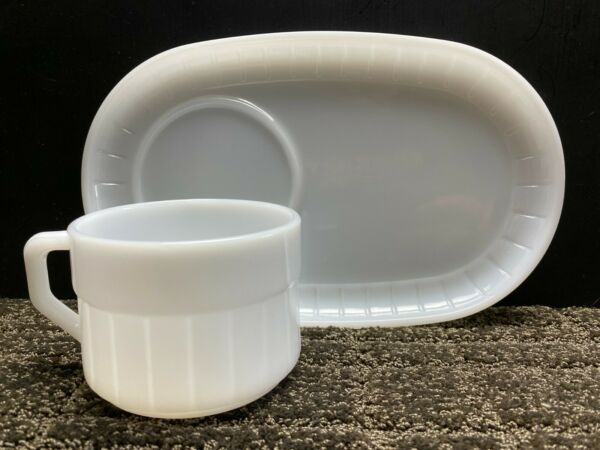 2 Piece Vintage Federal White Milk Glass Ribbed Snack Set Plate amp; Cup