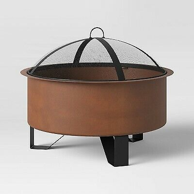Round Rust Look Wood Burning Outdoor Fire Pit Threshold