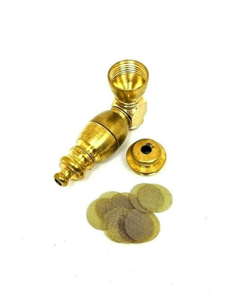 Metal Smoking Pipe Small Brass 2.5quot; Long w Lid amp; Dozen Screens Made in USA