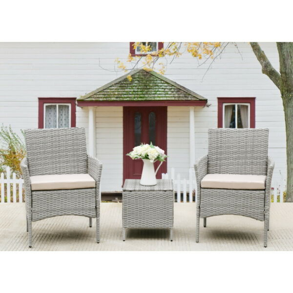 3 Pieces Patio Furniture Sets PE Rattan Wicker Chairs Beige Cushion with Table $146.89