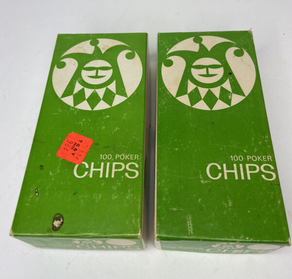 2 Vintage Boxes of Greene Games Poker Chips 200 chips Red White amp; Blue