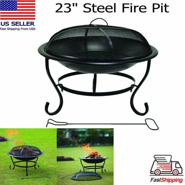 23quot; Round Fire Pit Black Steel Mesh Cover Guard Screen Heat Resistant Wood Grate