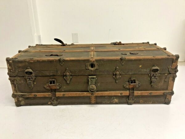 Vintage WOOD STEAMER TRUNK chest coffee table storage box antique flat top brown $149.99