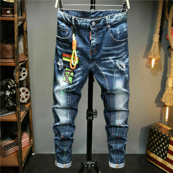 Slim Washed Denim Trousers Dsquared2 Jeans Basic Casual Stretch Pants With Rope $51.89