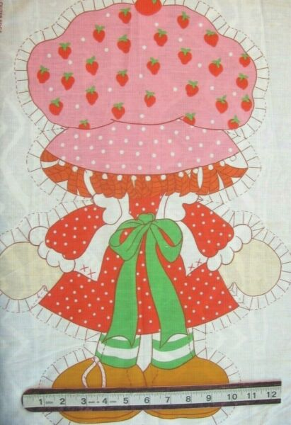 Strawberry Shortcake Vintage Panel BACKSIDE ONLY 15quot;w x 21.5quot;h on Cotton Fabric
