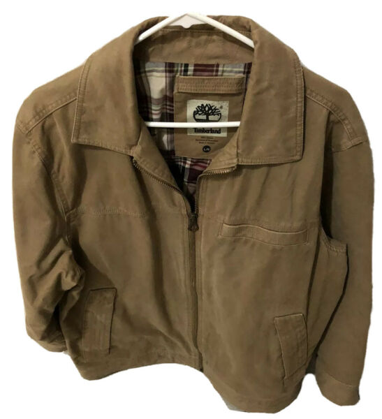 Timberland Mens Canvas Brown Jacket Large Size $40.00
