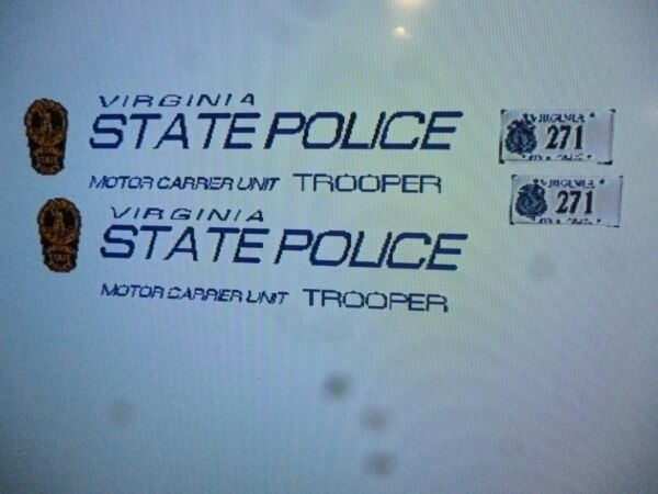 Virginia State Police Motor Carrier Unit Vehicle Decals 1:24 $13.99