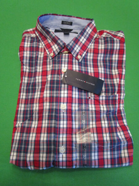 NWT TOMMY HILFIGER MENS SHORT SLEEVE RED WHITE BLUE PLAID SHIRT MEDIUM $17.09